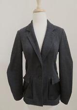 BOSS Hugo Boss wool knit Blazer jacket faux leather pockets sz 36 US 6 womens