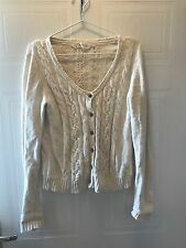 WOMEN'S FAT FACE CREAM CABLE KNIT CARDIGAN SIZE 12