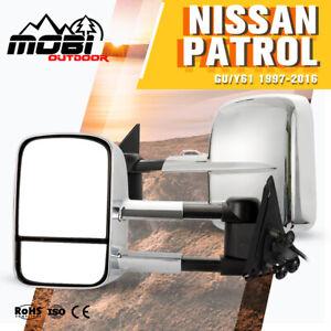 MOBI Extendable Towing Mirrors Suits NISSAN PATROL GU/Y61 1997-2016 Chrome 2PCS