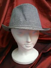 PUGS GEAR RUSH BLACK & WHITE CHECKED 100% COTTON FEDORA HAT One Size