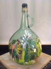 "Art Glass 12"" Almaden 3L Hand Painted Fish Aquatic Green Glass Wine Bottle Cork"