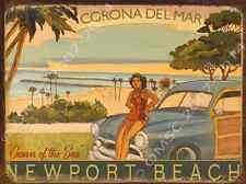 Corona Del Mar Metal Sign,Retro California Beach, Surfing, Vintage Coastal Decor