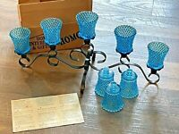 Lot Blue Diamond GLASS PEGGED VOTIVE HOMCO W/ Black Centerpiece Home Interiors