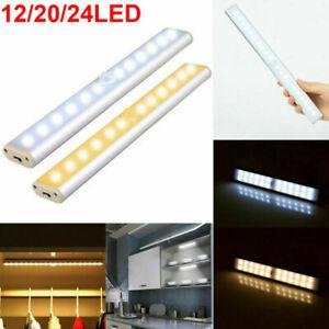 Wireless PIR Motion Sensor LED Strip Light Battery/USB Power Cabinet Closet Lamp