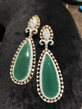 18k on4k Real gold Emerald Jade Cz  Red Carpet Drop Oscars Earring Bridal Carat