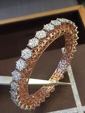 Classy 3.90 Cts Natural Diamonds Hinged Bangle Bracelet In Solid 14K Rose Gold
