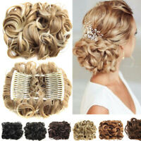 Curly  Easy Clip In Chignon  Hair Bun Hair Ponytail Extensions Synthetic Hair