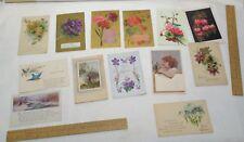 13 vintage POST CARDs - variety - some embossed - older unposted POSTCARDS