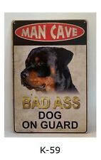 Tin Sign Man Cave Bad Ass Dog On Guard Rottweiler Retro Metal Signs Plaques