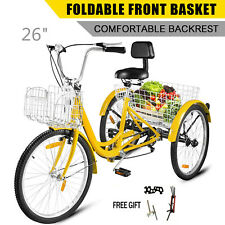 "Double Basket 26"" Adult Tricycle 3-Wheel Shinmo 7 Speed Bicycle Trike Yellow US"
