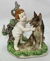 "Child with German Shepherd Porcelain Figurine 8406 Vintage 4.25""H x 3.75""L Crack"