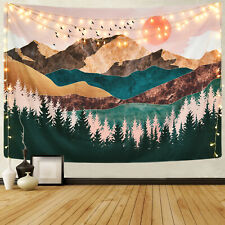 Watercolor Mountain Forest Tapestry Psychedelic Wall Hanging Home Blanket Decor