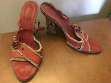 Vintage Dolce & Gabbana Red White Blue Mixed Material Sandals High Wedge Heel