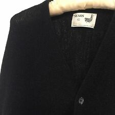 Vintage Sears Black 100% Alpaca Button Down Men's Cardigan size L