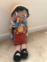 CROCHETED PINNOCHIO Walt Disney Doll Handmade Craft Rare Vintage One Of A Kind