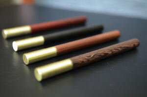 Wooden Ballpoint Pen - Natural Wood with Brass Cap - Black Ink 0.5mm