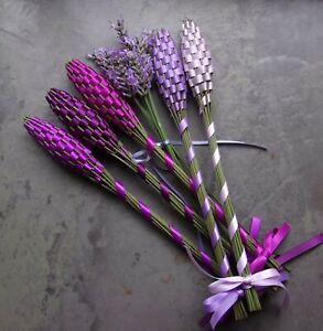 Real Lavender Filled Wands 5 Medium Assorted Purples Handmade Gift Set Handwoven