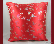 """New Silk Square Cushion Cover Pillow Case Red Butterfly 16.50"""" x 16.50"""""""