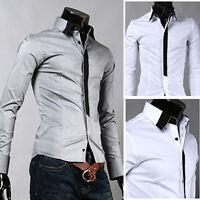 ST33 New Mens Casual Luxury Stylish Dress Slim Shirts US S,M,L,XL Gray,White
