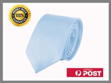Light Blue New Slim Solid Mens silk Tie groom wedding skinny Necktie