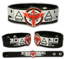 30 SECONDS TO MARS Rubber Bracelet Wristband < Kings and Queens > Black/White