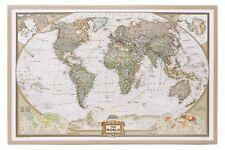 Weltkarte auf Kork Pinnwand englisch Holzrahmen 90x60cm #199086