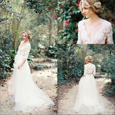 V Neck Country Wedding Dress Fairy Maternity Bridal Gown Size 2 4 6 8 10 12 14+