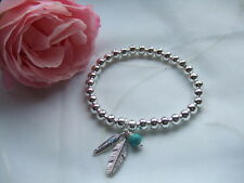 BIJOUX PRETTY SILVER TONE BALL FEATHER & TURQUOISE CHARM BRACELET