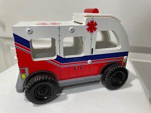 2011 KidKraft Red White & Blue Fire Station Ambulance Wood & Plastic VGC