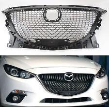 Mazda 3 2014-2016 VIP Diamond Mesh Black & Chrome Front Hood Bumper Grill