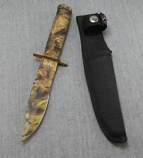 """8.5"""" JTEC Fixed Blade Light Brown Woodland CAMO Survival Knife with Sheath JV92"""