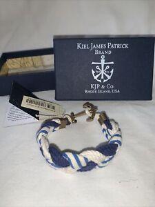 Kiel James Patrick Plaited Robe Bracelet BRAND NEW - M- Blue/ White/ Striped