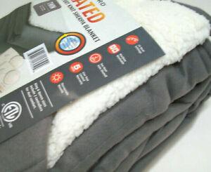Biddeford Electric Heated Warming Comfort Knit Sherpa Gray Twin Blanket New