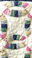 American Pacific Quilted Pillow Sham  Flowers 23 x 28 In Cotton Blue Border