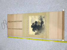 ANTIQUE IMPORTANT JAPANESE WATER COLOR PAINTING PAPER SCROLL/BONE HANDLE 7137