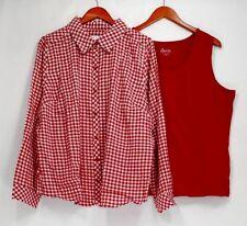 Denim & Co. Top Sz XL Gingham Button Front Shirt & Knit Tank Red A288724