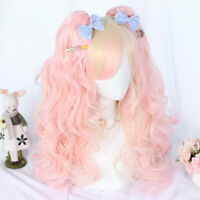 Lolita Pink Mix Light Blond Long Hair Cosplay Wig With Curly Ponytails Fancy