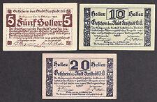 Freistadt (OÖ) -Gemeinde- 5 H, 10 H und 20 Heller (JP 212)