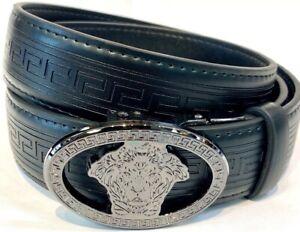 Mens Pavini Adjustable Ratchet Belt Black Syn Leather Gray Buckle Greek Lion