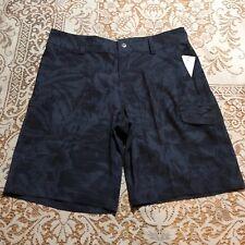 Speedo Mens Size 32 Board Shorts Floral Hybrid Swim Bottom Granite Blue