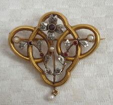 Ruby Yellow Gold Brooch/Pin Art Nouveau Fine Jewellery