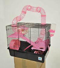 Bernie grandes jaula hámster rosa pequeño animal jaula con tubos de juego de la diversión 3 Pisos