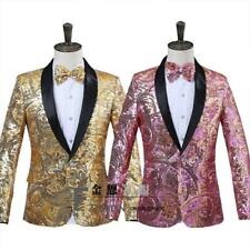 Men Gold Glitter Bling Blazer Bar Floral Coat Slim Fit Chic Jacket Dress Formal