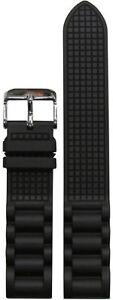 20mm Bonetto Cinturini Watch Band Model 318 Black NBR Oyster Style 20/18 132/77