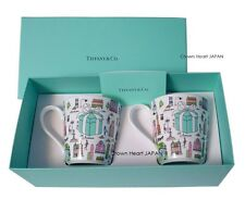 New TIFFANY & CO Bone China 5th Avenue 2 Mug Cup Set in Gift Box from JAPAN