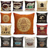 "18"" Vintage+Retro Coffee Cup Pillowcases Home Décor Cotton Linen Cushion Cover"