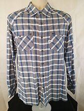 ROCAWEAR Mens Shirt Size L Soft Button Front Long Sleeve Plaid Blue Gray Cotton