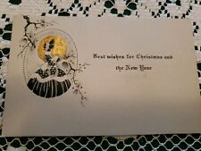 Vintage Art Deco Era Christmas Greeting Card Merry 1930 Signed Old Pochoir Lady