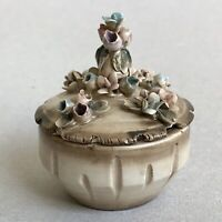 CAPODIMONTE Porcelain Trinket Box Jewelry Small Chest Bowl w/ Lid Flowers Home