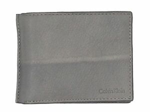 $95 Calvin Klein Mens Ck Gray Leather Bifold 6cc Credit Card Photo Id Wallet
